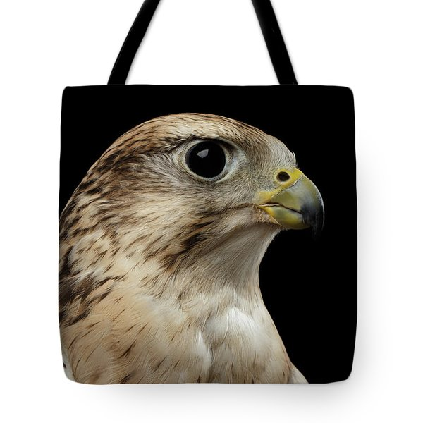 Close-up Saker Falcon, Falco Cherrug, Isolated On Black Background Tote Bag