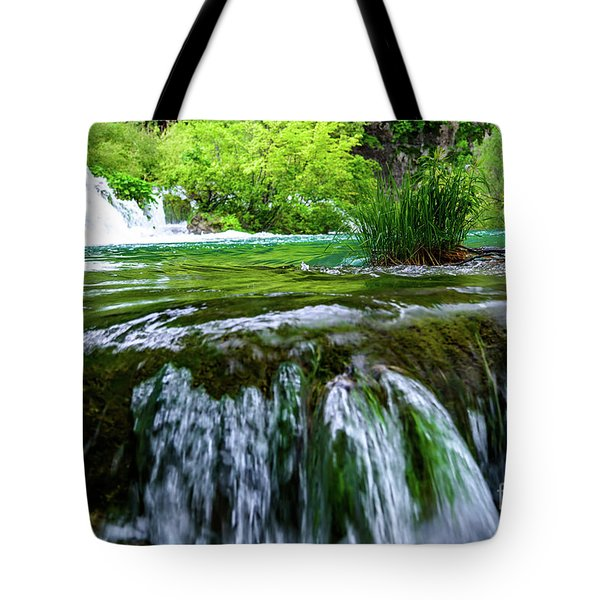 Close Up Waterfalls - Plitvice Lakes National Park, Croatia Tote Bag