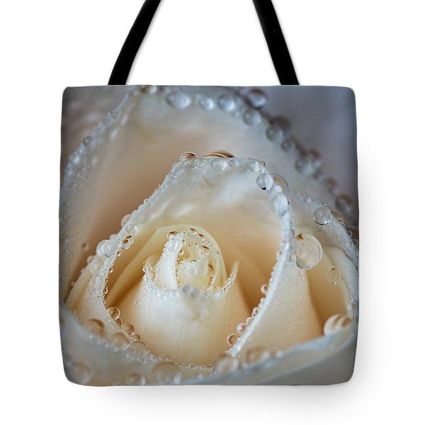 Close Up White Rose Tote Bag