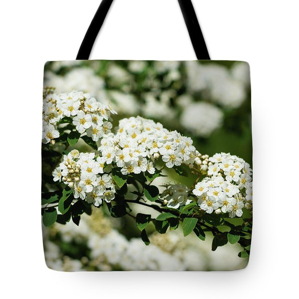 Tote Bag featuring the photograph Close-up White Spirea Bush by Cristina Stefan