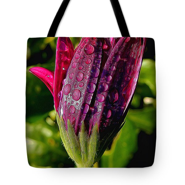 Closed Daisy With Rain Drops Tote Bag