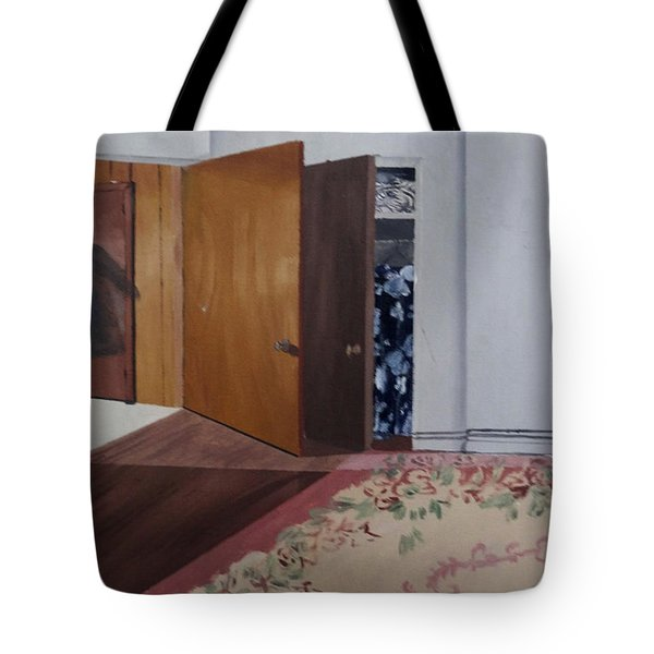 Tote Bag featuring the painting Closet Doors by Lyric Lucas