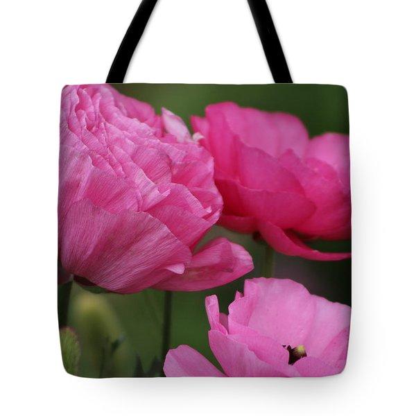 Closeup Deep Peony Pink Ranunculus Tote Bag