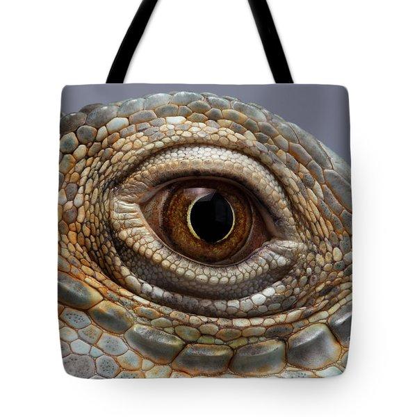 Closeup Eye Of Green Iguana Tote Bag by Sergey Taran