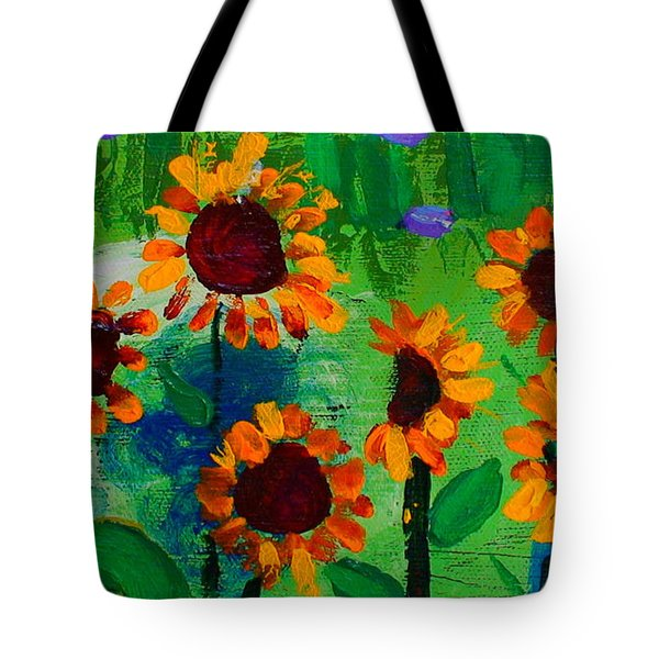 Closeup From Day And Night In A Sunflower Field Tote Bag by Angela Annas