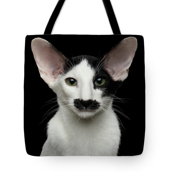 Closeup Funny Oriental Shorthair Looking At Camera Isolated, Bla Tote Bag