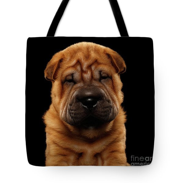 Closeup Funny Sharpei Puppy Isolated On Black Tote Bag by Sergey Taran