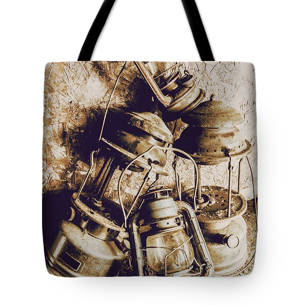 Closeup Of Antique Oil Lamps Tote Bag