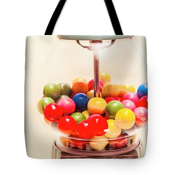 Closeup Of Colorful Gumballs In Candy Dispenser Tote Bag
