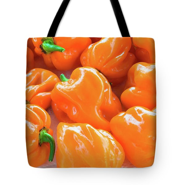 Closeup Of Fresh Chillies Habanero Orange Tote Bag