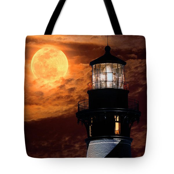 Closeup Of Full Moon Rising Over St Augustine Lighthouse Tote Bag