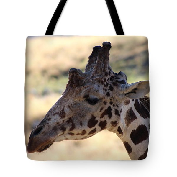 Closeup Of Giraffe Tote Bag by Colleen Cornelius