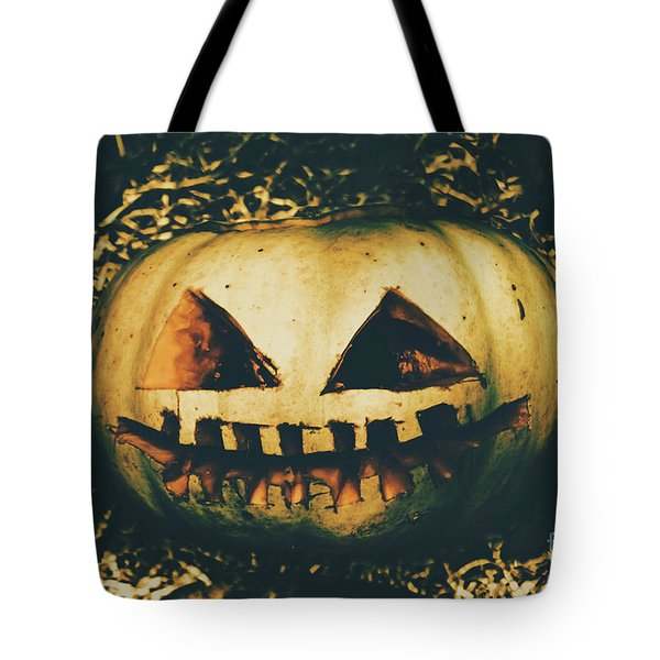 Closeup Of Halloween Pumpkin With Scary Face Tote Bag