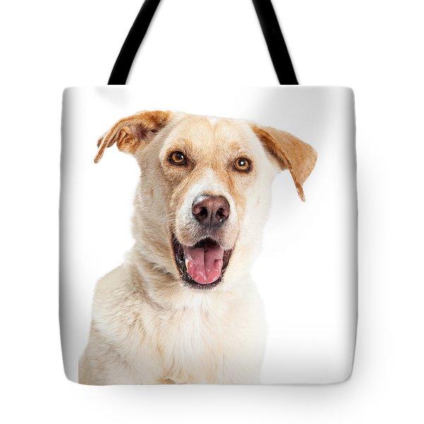 Closeup Of Happy Yellow Labrador Dog Crossbreed Tote Bag