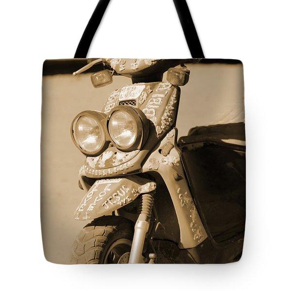 Closeup Of Jesus Scooter In Sepia Tote Bag