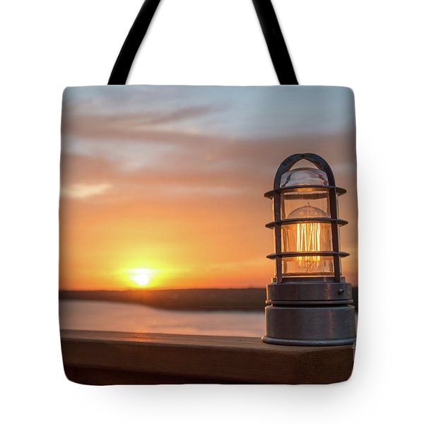 Closeup Of Light With Sunset In The Background Tote Bag