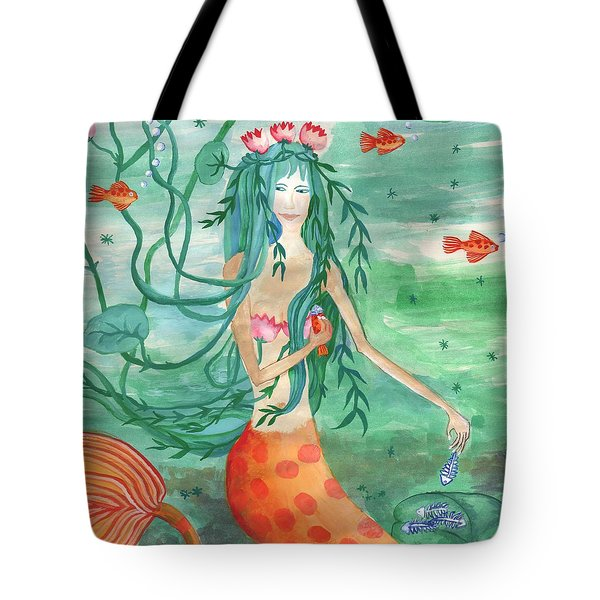 Closeup Of Lily Pond Mermaid With Goldfish Snack Tote Bag by Sushila Burgess