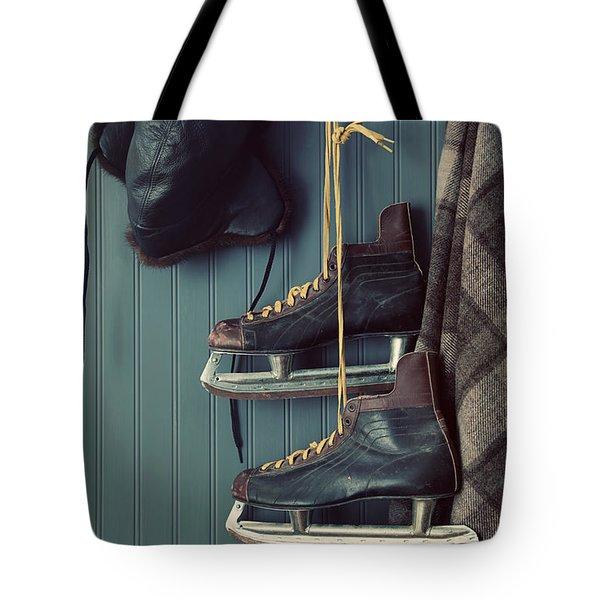 Closeup Of Old Skates On Hooks Tote Bag