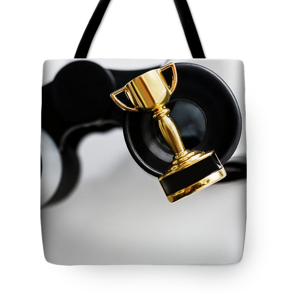 Closeup Of Small Trophy And Binoculars On White Background Tote Bag