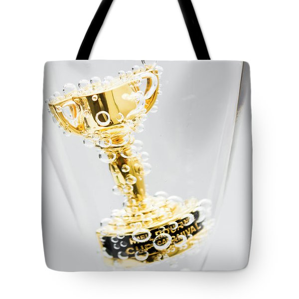 Closeup Of Small Trophy In Champagne Flute. Gold Colored Award I Tote Bag
