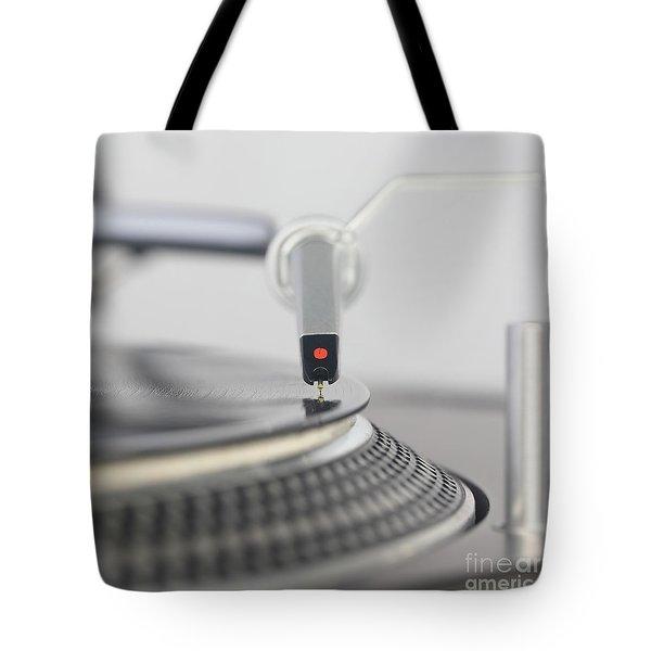 Closeup Of The Legendary Technics Sl 1200 Mk2 Turntable Tote Bag