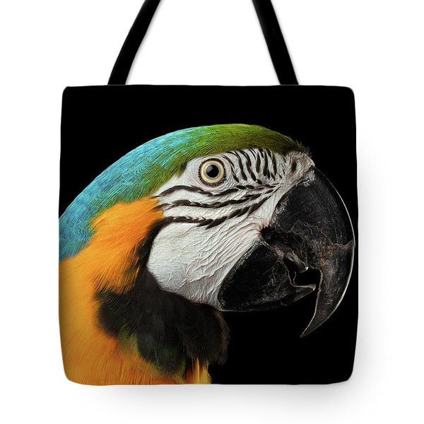 Closeup Portrait Of A Blue And Yellow Macaw Parrot Face Isolated On Black Background Tote Bag by Sergey Taran