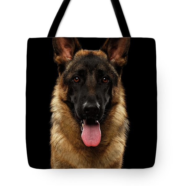 Closeup Portrait Of German Shepherd On Black  Tote Bag