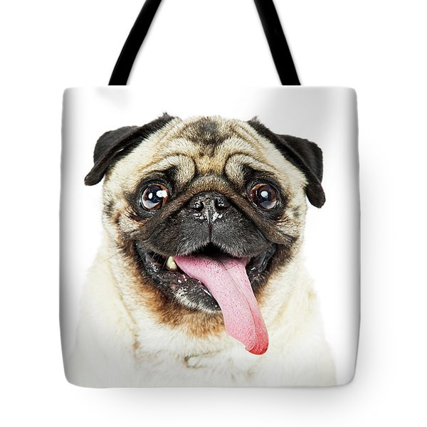 Closeup Pug Dog Tongue Hanging Out Tote Bag