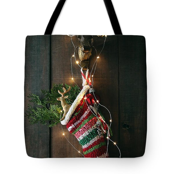 Closeup Stripe Wool Stocking With Lights Tote Bag