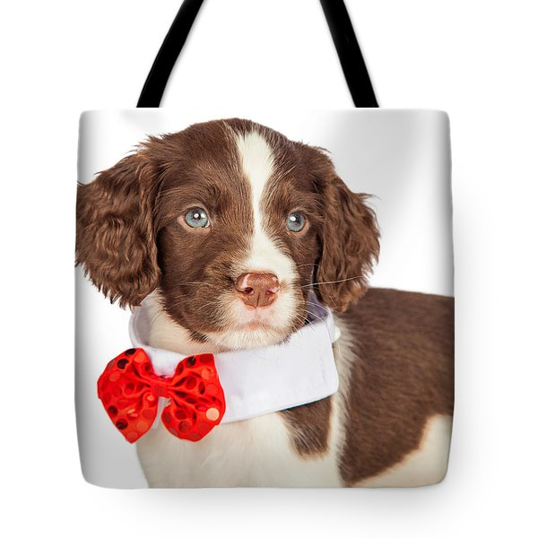 Closup Puppy Wearing Red Christmas Tie Tote Bag