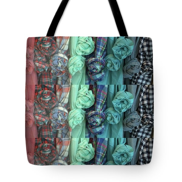 Tote Bag featuring the digital art Cloth Craft Work Flower Patterns Made Of Tshirt Sleeves Fashion Couture Christmas Birthday Holidays  by Navin Joshi
