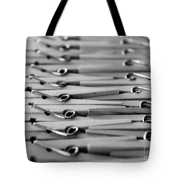 Clothes Pins - Black And White Tote Bag