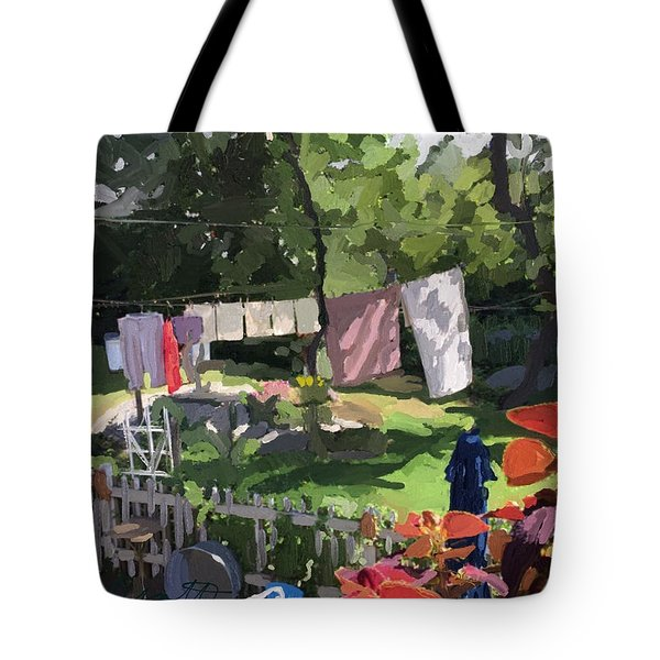 Clothesline And Coleus In An East Gloucester  Ma Garden  Tote Bag