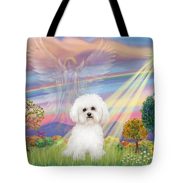 Cloud Angel And Bichon Frise Tote Bag