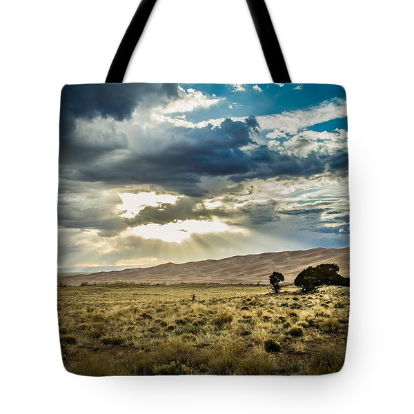 Tote Bag featuring the photograph Cloud Break Over Sand Dunes by Laura Roberts