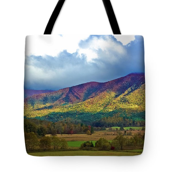 Cloud Covered Peaks Tote Bag by DigiArt Diaries by Vicky B Fuller