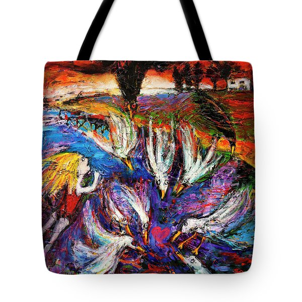 Tote Bag featuring the painting Cloud Street - Geraldton Seagulls by Jeremy Holton