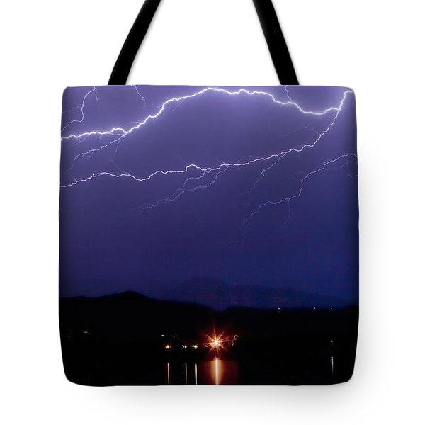 Cloud To Cloud Horizontal Lightning Tote Bag by James BO  Insogna