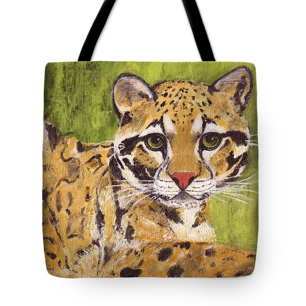 Tote Bag featuring the painting Clouded Cat by Jamie Frier
