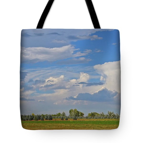 Clouds Aboive The Tree Farm Tote Bag