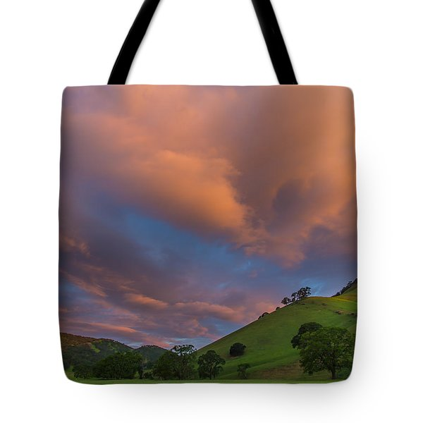 Clouds Above Round Valley At Sunrise Tote Bag by Marc Crumpler