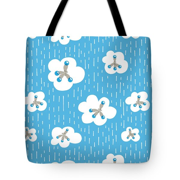Clouds And Methane Molecules Pattern Tote Bag
