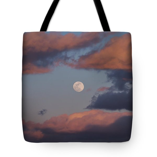 Tote Bag featuring the photograph Clouds And Moon March 2017 by Terry DeLuco