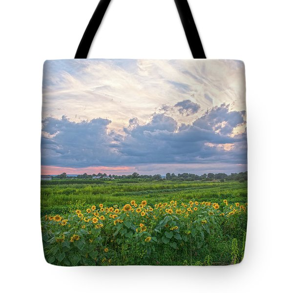 Clouds And Sunflowers Tote Bag