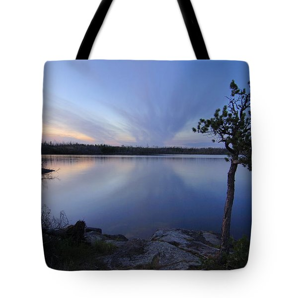 Clouds At Sunset On Seagull Lake Tote Bag by Larry Ricker