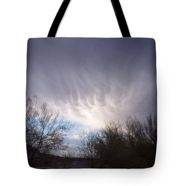 Tote Bag featuring the painting Clouds In Desert by Mordecai Colodner