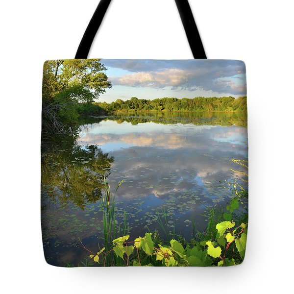 Clouds Mirrored In Snug Harbor Tote Bag