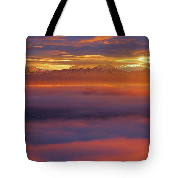 Clouds Of Fire Surround The La Sal Mountains From Dead Horse Point State Park Tote Bag