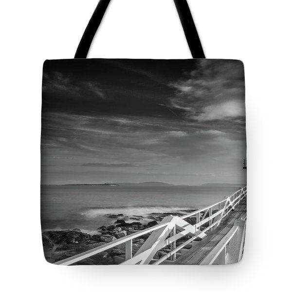 Clouds Over Marshall Point Lighthouse In Maine Tote Bag