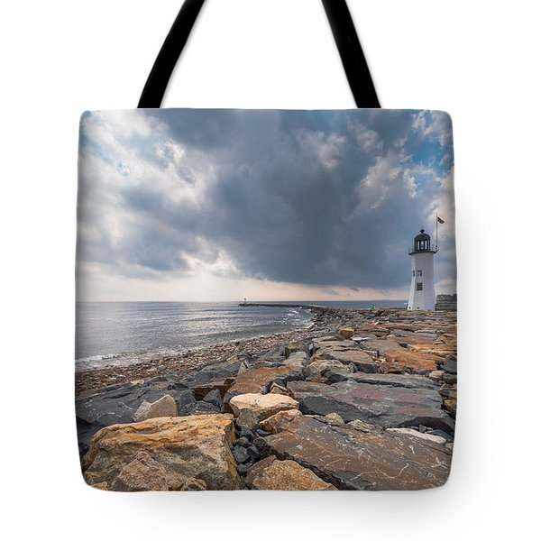 Clouds Over Old Scituate Light Tote Bag